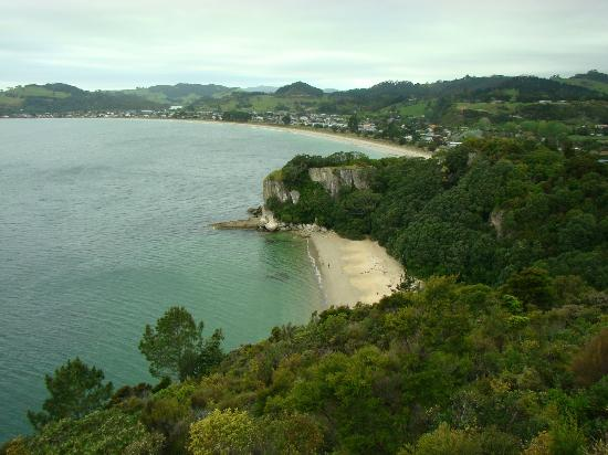 Cooks Beach Resort: Shakespeare's Point lookout, Lonely Bay in foreground, Cooks in background - slightly overcast d