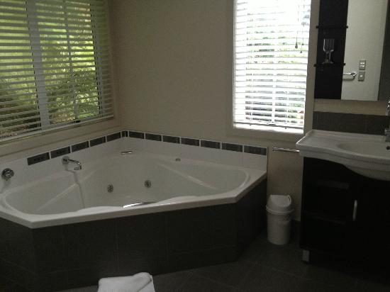 Anchor Lodge Coromandel: Spa Bath backing onto the forest setting