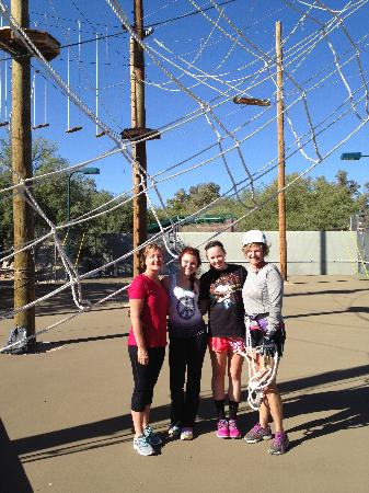 Canyon Ranch in Tucson: My daughter and I with new friends on the High Ropes Course