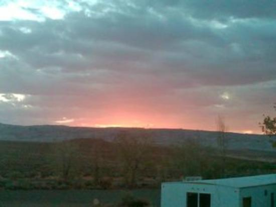 Halls Crossing, UT: Sunset Over House Trailer Complex