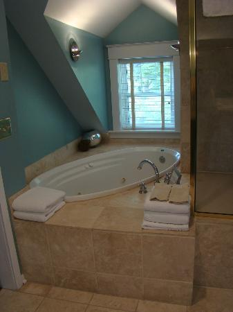 Inn on Crescent Lake: The jacuzzi and shower area in the cottage bathroom.