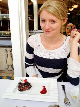Alton Towers Hotel: My fiancée ready to enjoy her dessert