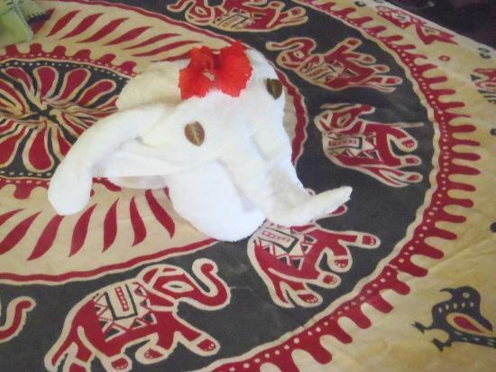 Luna Lodge: Serviette en forme d'éléphant sur le lit