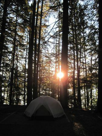 Glacier National Park Campgrounds: Fish Creek Campground, site 150, sunrise over Lake McDonald