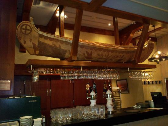 Fourquet Fourchette: Few bars have a canoe overhead!