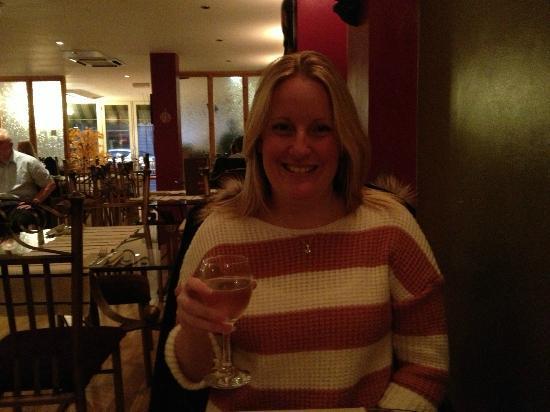 AJ's Bistro: Enjoying a nice glass of Pinot