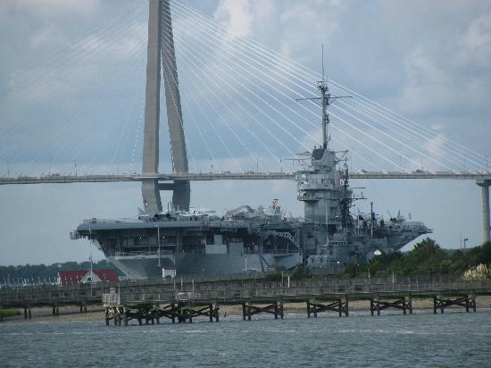 Patriots Point Naval & Maritime Museum: USS Yorktown with the Ravenel bridge, taken from the ferry to Fort Sumter