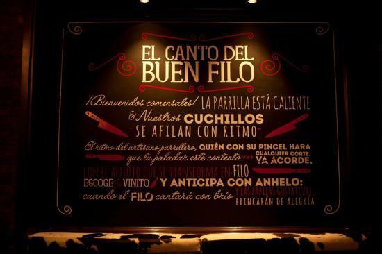 FILO Restaurante Parrillada Argentina de Buen Cuchillo: Canto del Buen FILO