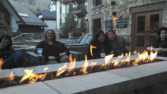 The Sebastian - Vail: Outside by the hot tub, the sitting area around the fire. NICE!