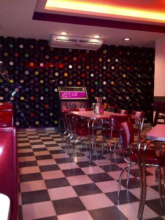 The Diner: inside, awesome vinyl wall