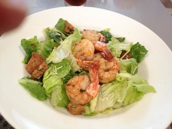Cane Fire Grille: Caesar Salad with shrimp and banana (or, date) nut quick-bread croutons
