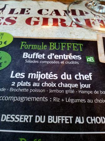 "Doue-la-Fontaine, ฝรั่งเศส: Restaurant ""Le camp des Girafes"", au menu ..."