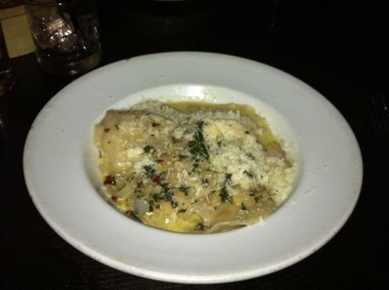 Eatery : housemade ravioli with shredded chicken and roasted eggplant filling