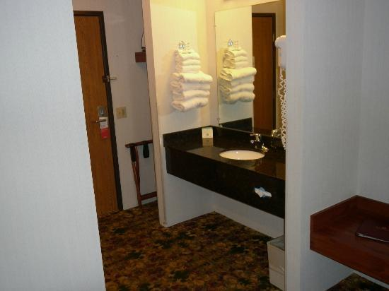 Ramada Mackinaw City Waterfront: Sink is in halll way