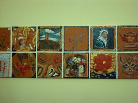 Pontypool, UK: A display of tiles from a craft project at the museum