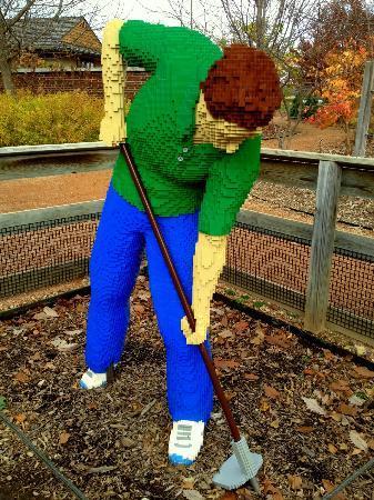 Reiman Gardens: Farmer Lego sculpture