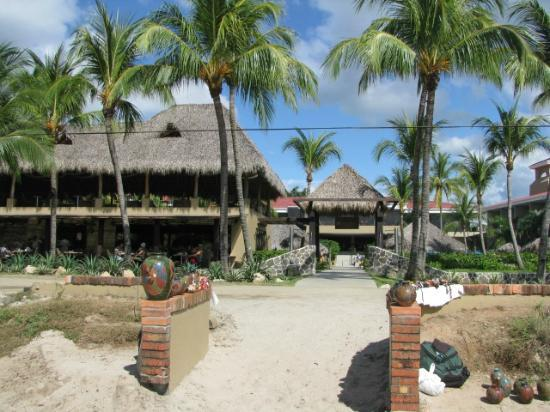 Flamingo Beach Resort And Spa: View of restaurant and pool from beach