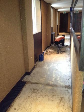 Hotel S: the ripped up floor in the hallway outside my room