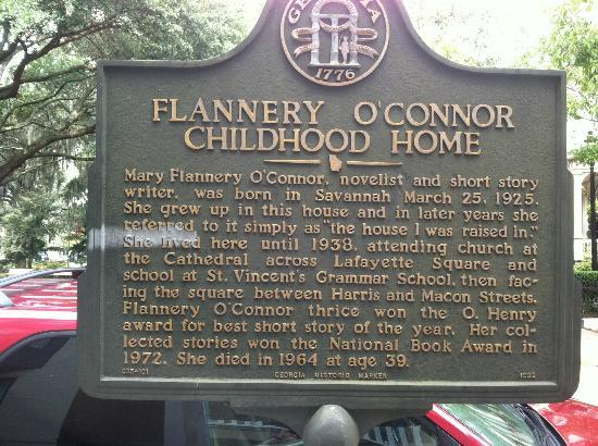 Flannery O'Connor Childhood Home: Historic Marker outside Home
