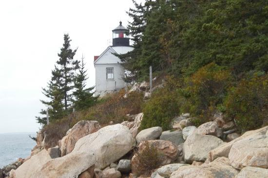 Bass Harbor Head Lighthouse: view from woods path sttairs to reach it