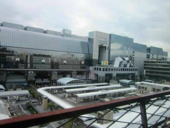 Kyoto Tower Hotel: view across to JR station from our room