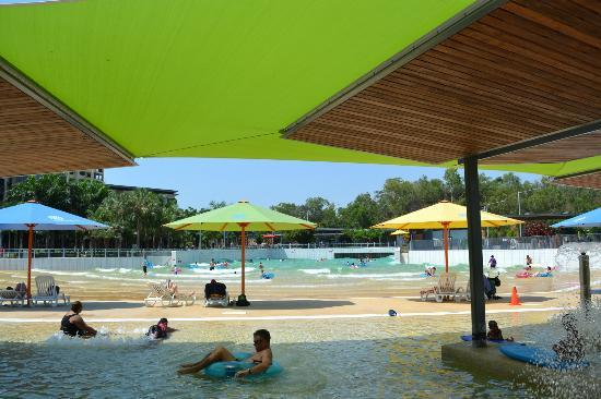 Wave Lagoon: Looking out to the Wave Pool from the shade down the back