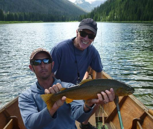 Flat Creek Ranch: Large trout from the lake