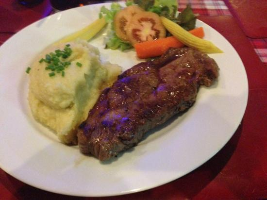 Buffalo Steak House - Kata Plaza: plain sirloin with mash