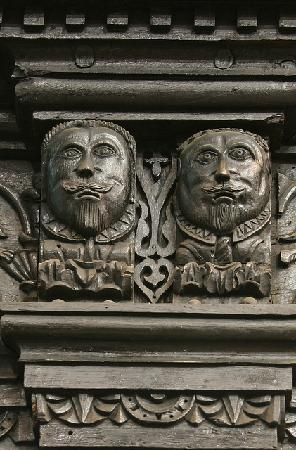 St John's Church: Detail of carved male figureheads on South screen