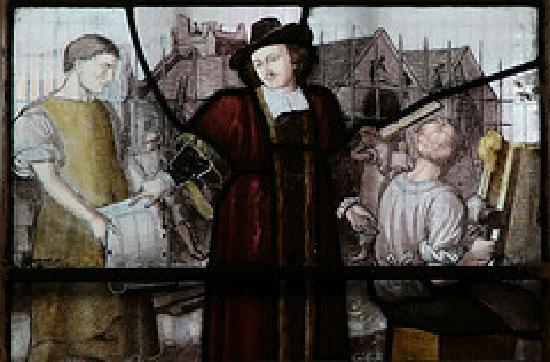St John's Church: Detail of the John Harrison window