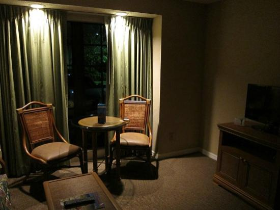 Legacy Vacation Resorts-Lake Buena Vista: 照明はカーテンレールの上だけで暗い。レースのカーテンはついてない。