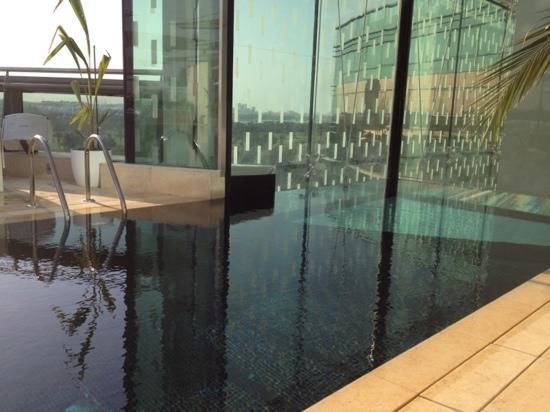 Jumeirah Creekside Hotel: piscina no oitavo andar com fundo transparente pro lobby!