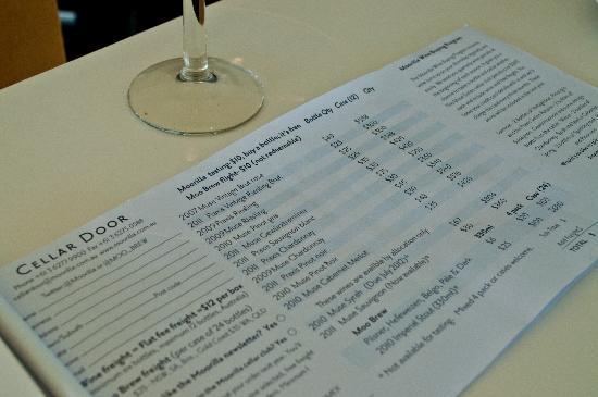Wine Bar Mona : Price list in July 2012