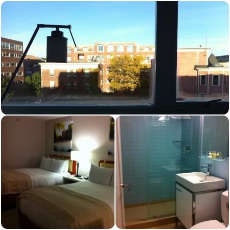 Harvard Square Hotel: View from room, beds, bathroom (third floor)