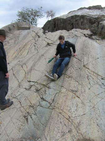 Destination Peru Tours: Jared at the Sacsayhuaman slides.