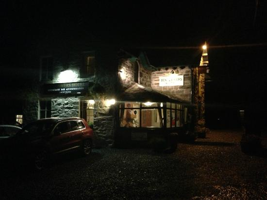 Ben Lawers Hotel: iPhone image at night, apologies!! The front of the Hotel...