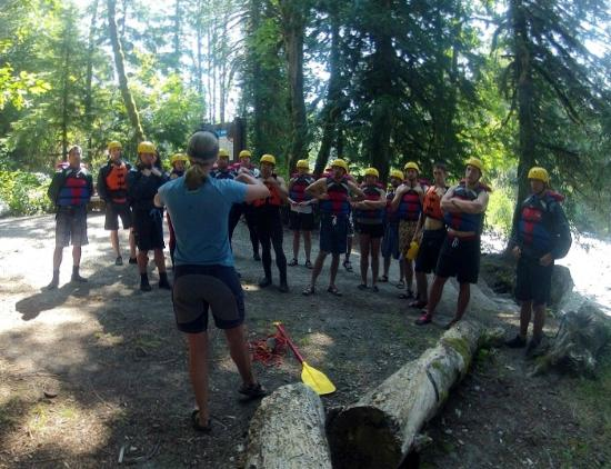Adventure Cascades: Katie's safety talk for a Sauk whitewater rafting trip