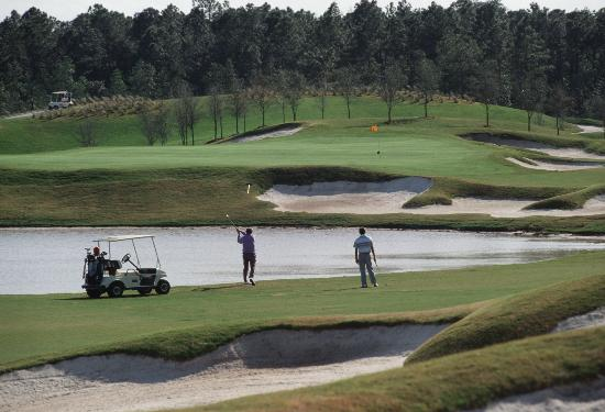 Disney's Osprey Ridge Golf Course : Hole #16 over the water to the green.