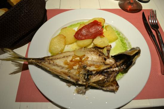 Hotel Pamplona Plaza: chicharro (fish), oven roasted spuds and a garlic sauce, devine
