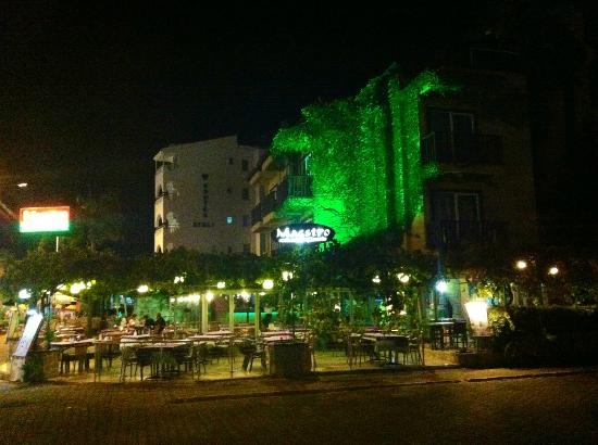 Outside the Efendi Hotel at night