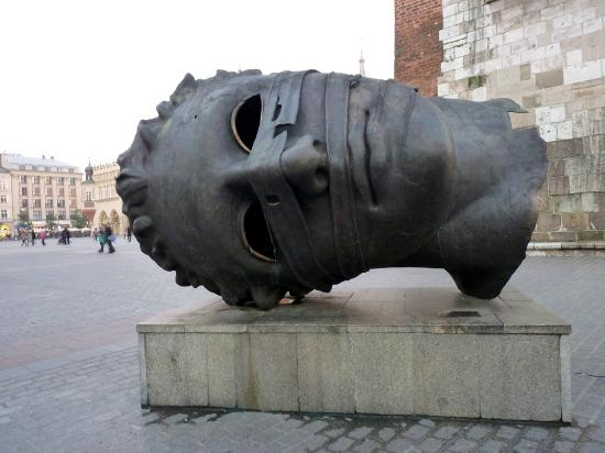 Hotel Wentzl : Copy of Greek head (original in Agrigento, Sicily) in Old Town Square