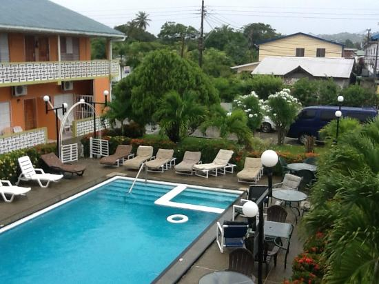 Lowlands, Tobago: View of pool area from balcony of suite