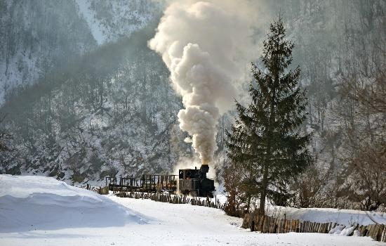 "Viseu de Sus, Romania: 763.139 ""Krauss"" at km 8.7, heavy winter in the Vaser Valley; 9 February 2012"