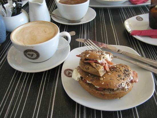 Jack Mondays Coffee House: Seeded Bagel w/cream cheese & bacon, cafe latte