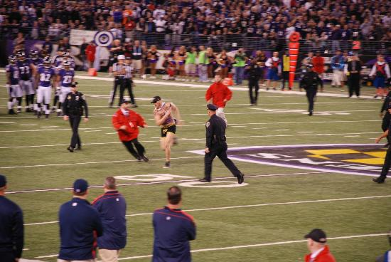 M&T Bank Stadium: streaker on field