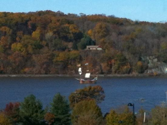 Marist College: A schooner on the Hudson - view from Marist library