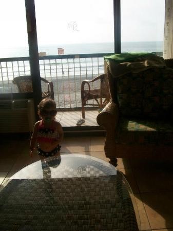 Westgate Myrtle Beach Oceanfront Resort: view from room. 2 bedrom condos have 3 balconies like this