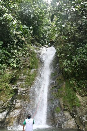Selva Bananito Lodge: Rappelling down the waterfall