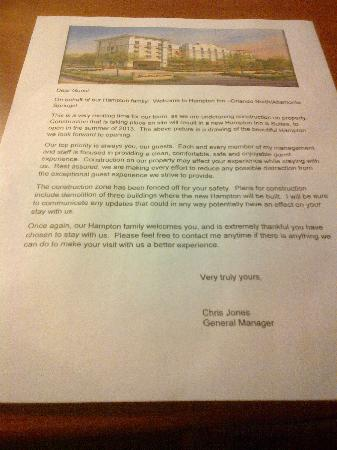 Quality Inn: In-room letter announcing construction plans