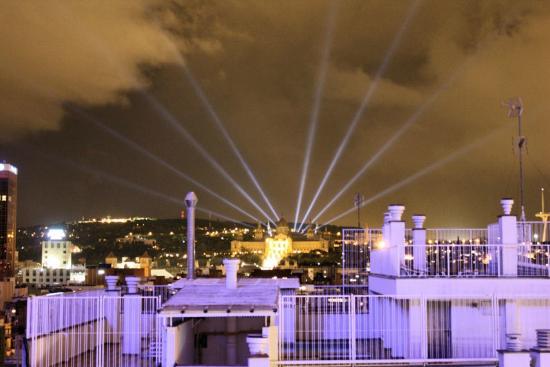 Expo Hotel Barcelona: Montjuc at night, from the balcony